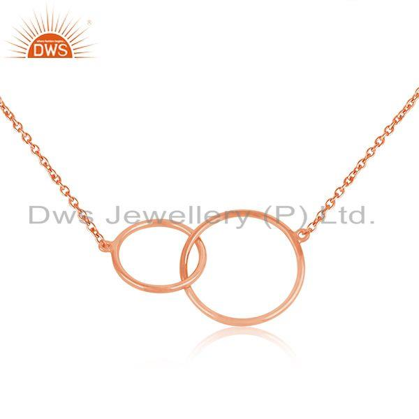 Circle link design rose gold plated silver chain necklace jewelry