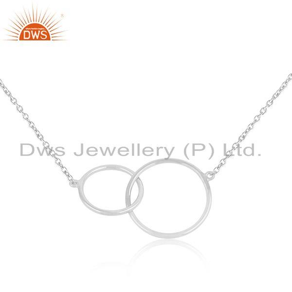 White rhodium plated 925 silver link design necklace jewelry