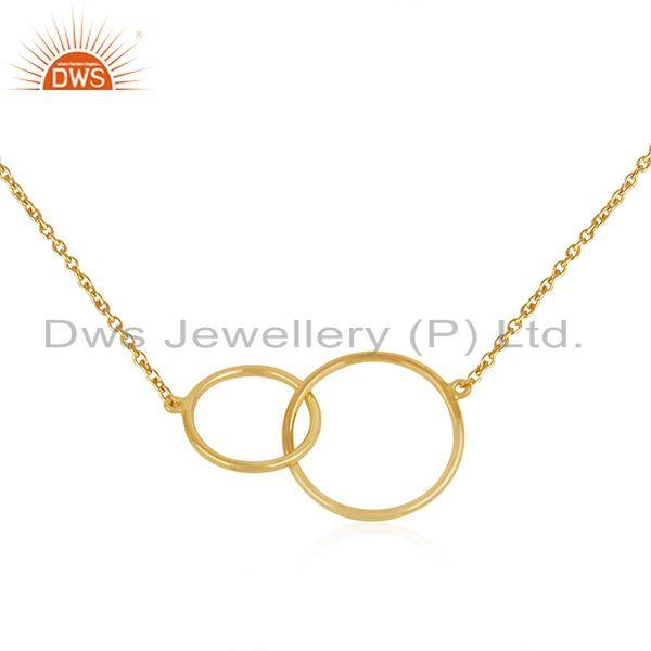 Yellow gold plated designer silver chain link design necklace jewelry
