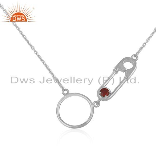 Pin Design Fine Sterling Silver Garnet Gemstone Necklace Manufacturer India