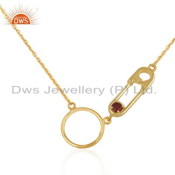 Pin Design Garnet Gemstone Gold Plated 925 Silver Chain Neckalce Manufacturer