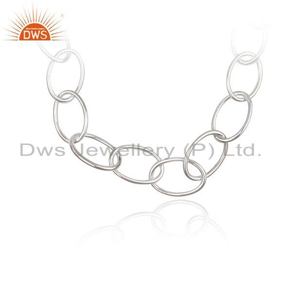 Handmade Fine Sterling Silver Chain and Link Necklace Manufacturer Jaipur