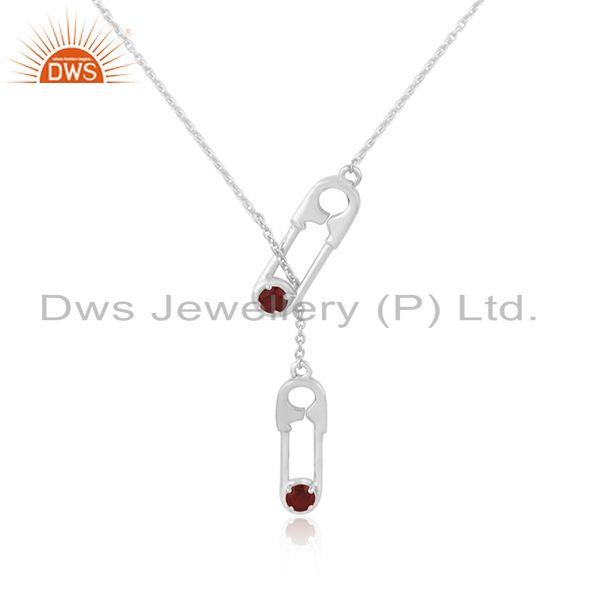 Garnet Gemstone Fine Sterling Silver Pin Design Chain Pendant Manufacturer