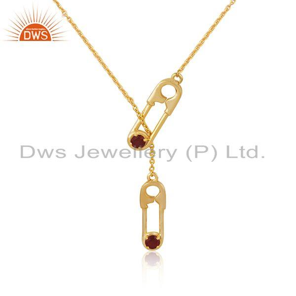 Customized Pin Design Garnet Gemstone Gold Plated Silver Necklace Manufacturer