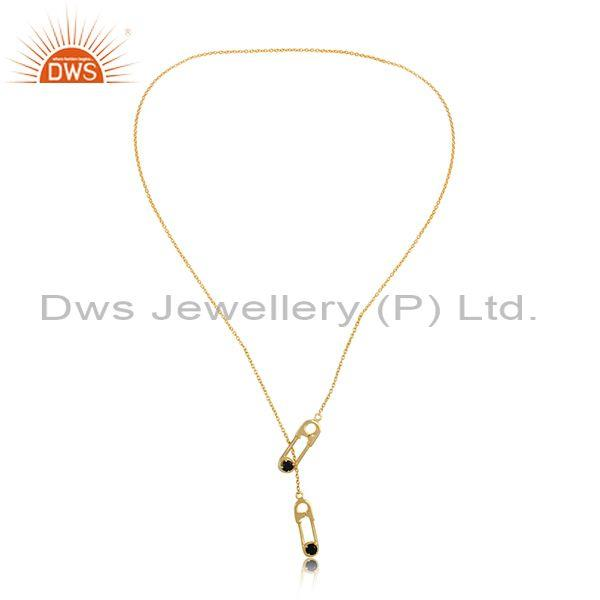 Black onyx set gold plated 925 silver rope chain necklace
