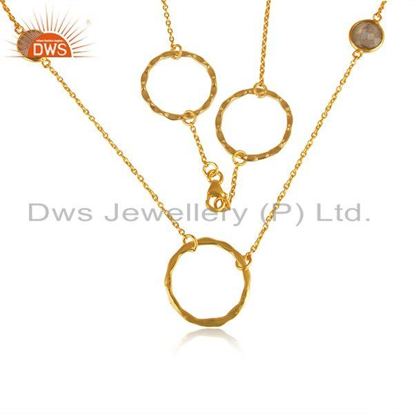18k Yellow Gold Plated Sterling Silver Chain Necklace Manufacturer