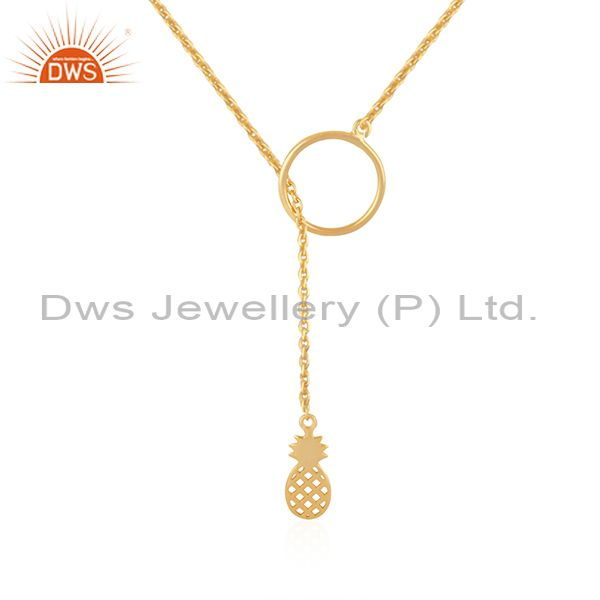 Pineapple Design Pendant Gold Plated 925 Silver Chain Necklace