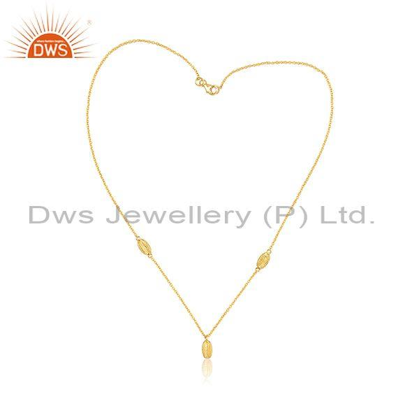 Handmade Gold On Silver Designer Statement Pendant And Chain