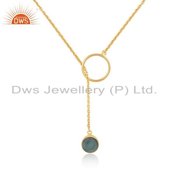 Aqua Chalcedony Gemstone 925 Silver Gold Plated Chain Pendant Manufacturer