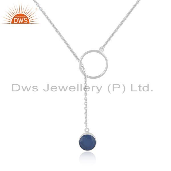Blue Chalcedony Gemstone 925 Fine Sterling Silver Chain Pendant Necklace