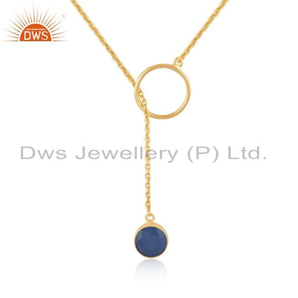 Blue Chalcedony Gemstone Pendant 925 Silver Gold Plated Chain Necklace Supplier