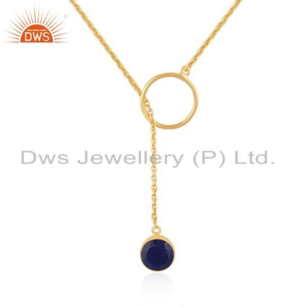 Gold plated 925 silver lapis lazuli gemstone pendant chain necklace manufacturer