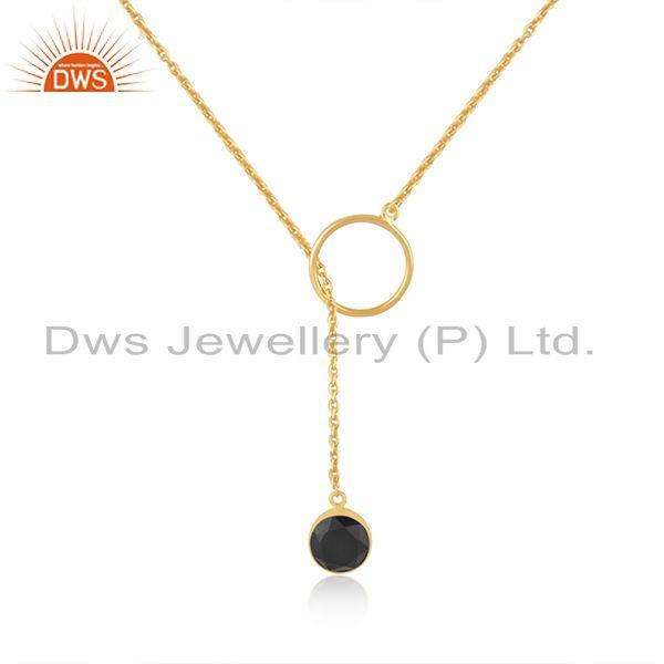 Black onyx gemstone gold plated 925 silver chain pendant necklace wholesale