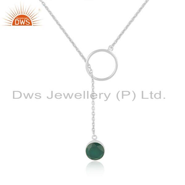 Green Onyx Gemstone Pendant Manufacturer of Fine Sterling Silver Chain Necklace