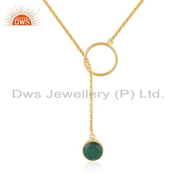 Manufacturer of Green Onyx Pendant Gold Plated 925 Silver Chain Necklace Jewelry