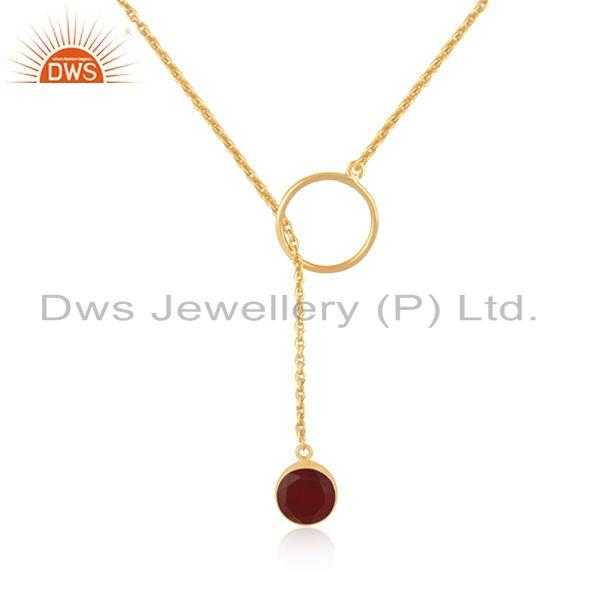 Supplier of Red Onyx Gemstone Pendant Gold Plated 925 Silver Chain Necklace