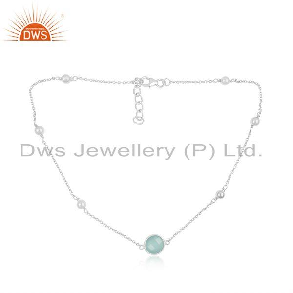 Fine Sterling Silver Chain Necklace Wholesaler of Chalcedony Gemstone Pendant