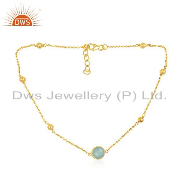 18k Gold Plated 925 Silver Chain Necklace Manufacturer of Chalcedony Pendant