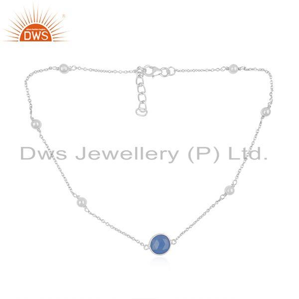 Blue Chalcedony 925 Sterling Fine Silver Chain Necklace Manufacturer INdia