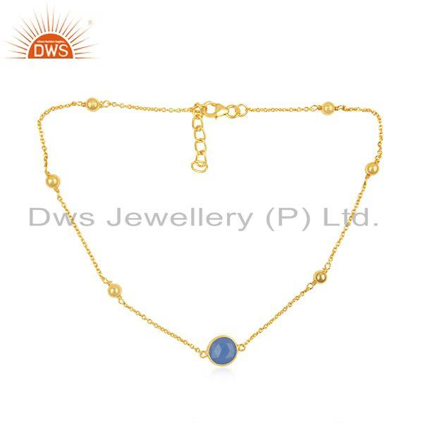Blue chalcedony gemstone pendant gold plated 925 silver chain necklace supplier