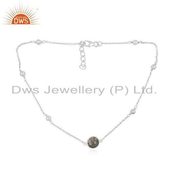 Labradorite Gemstone 925 Sterling Fine Silver Chain Necklace Manufacturer