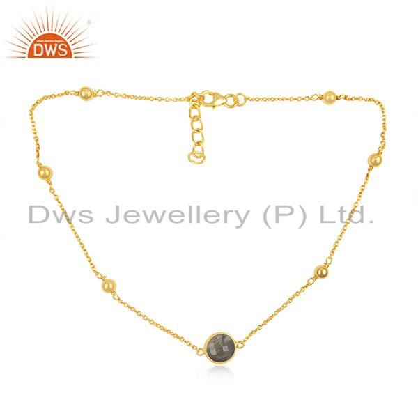 Gold plated 925 silver chain labradorite gemstone pendant necklace suppliers