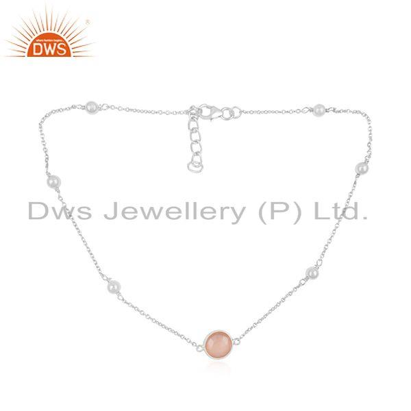 Fine Sterling Silver Rose Chalcedony Gemstone Chain Necklace Manufacturer INdia