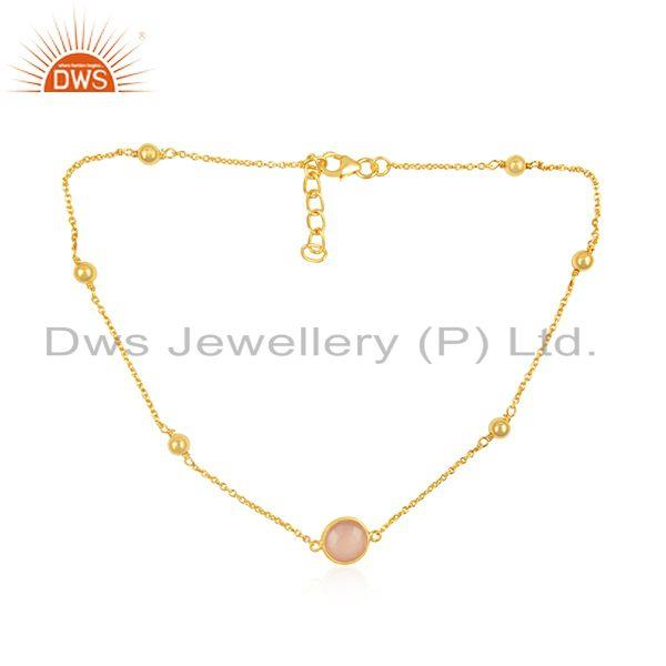 Rose Chalcedony Gemstone 925 Silver Gold Plated Necklace Wholesale Supplier