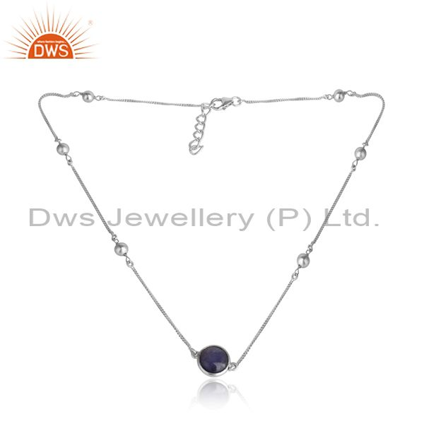 Tanzanite Gemstone Designer Sterling Silver womens Necklaces