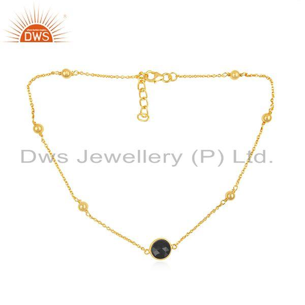 Gold Plated 925 Silver Black Onyx Gemstone Chain Necklace Wholesale Supplier