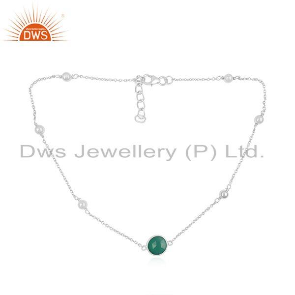 Supplier of Fine STerling Silver Green Onyx Gemstone Necklace Manufacturer