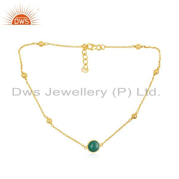Green onyx gemstone 925 sterling silver gold plated necklace supplier in india