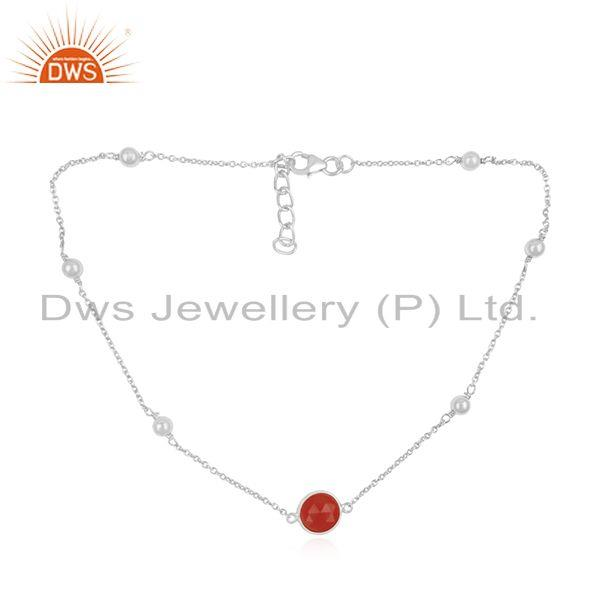 Manufacturer of Fine Sterling Silver Red Onyx Gemstone Necklace Wholesaler