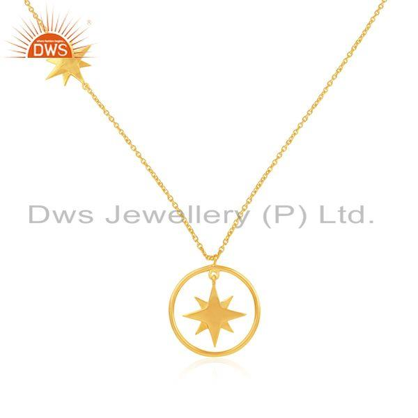 Yellow gold plated 925 sterling plain silver star charm chain pendant supplier