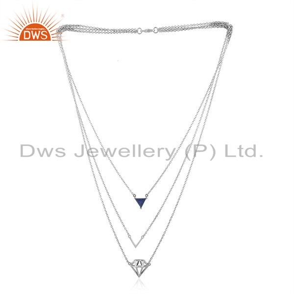 Lapis Designer Diamond Shape Oxidized Silver Chain Necklace Jewelry