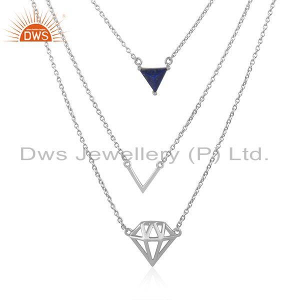 Diamond Shape Pendant Fine Sterling Silver Chain Necklace Manufacturer in Jaipur