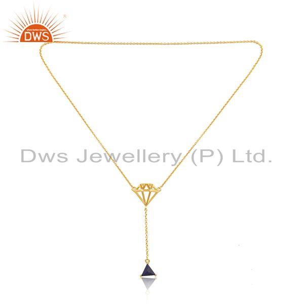 Lapis lazuli gemstone diamond shape 925 silver gold plated necklace