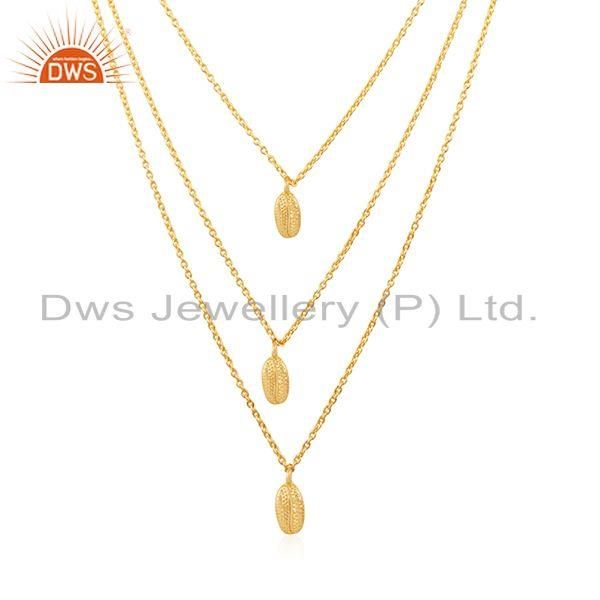 Yellow gold plated 925 sterling silver designer chain necklace wholesale