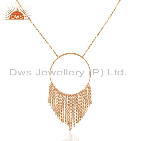 18k Rose Gold Plated Plain Sterling Silver Chain Necklace Wholesale