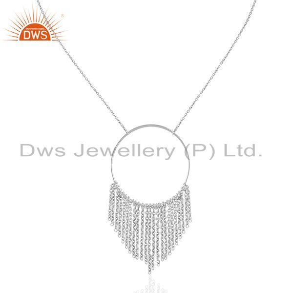 White Rhodium Plated Sterling Plain Silver Chain Necklace Suppliers