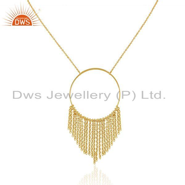 18k yellow gold plated plain sterling 925 silver chain necklace