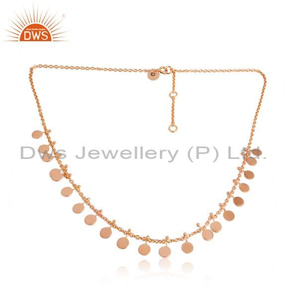 Rose Gold Plated 925 Sterling Plain Silver Charm Necklace Wholesaler