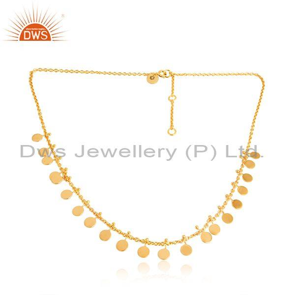 18k yellow gold plated lucky charm plain sterling silver necklace
