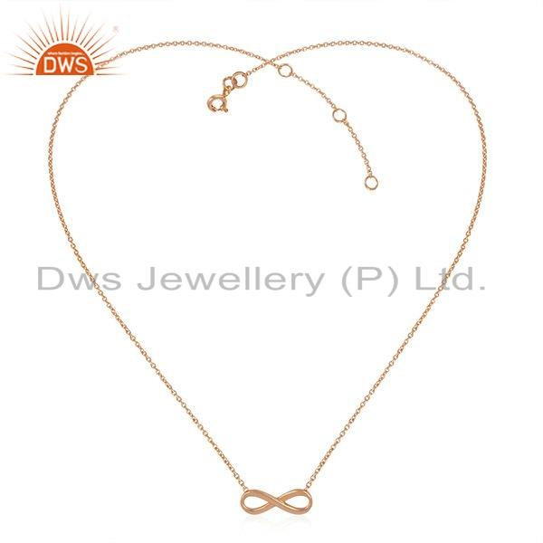 Rose Gold Plated Silver Infinity Shape Womens Chain Necklace Jewelry