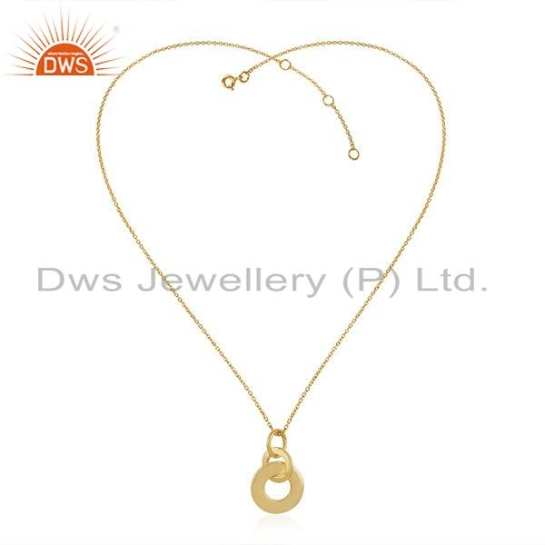 Gold Plated Plain Silver Round Design Link Pendant Necklace Jewelry