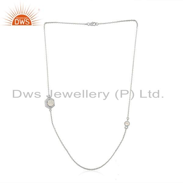 925 Fine Silver Zircon Rainbow Moonstone Gemstone Necklace Jewelry