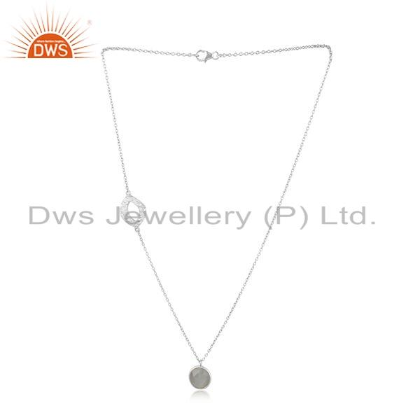 Gray Moonstone Gemstone New Sterling Fine Silver Chain Necklace