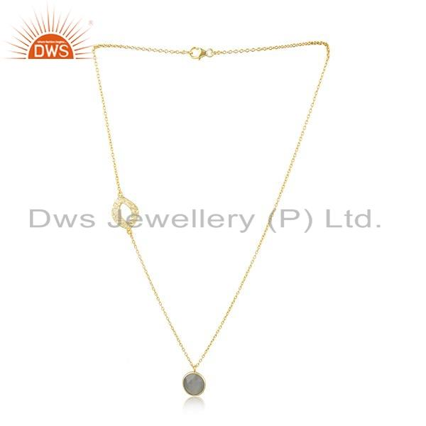 Gray Moonstone Gemstone New Look Gold Plated Silver Chain Necklace