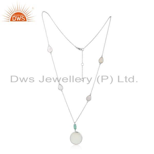 Designer Silver Necklace with Aqua Chalcedony and Mother of Pearl