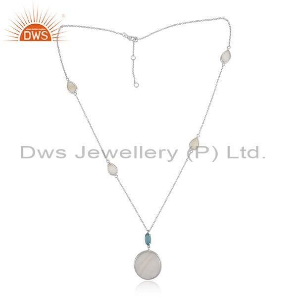 Sterling Silver Necklace with Mother of Pearl Blue Chalcedony
